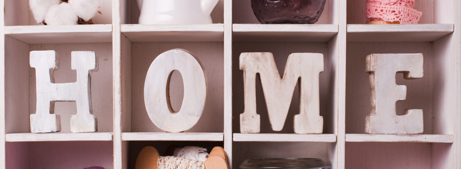 Homeware items in a shelf
